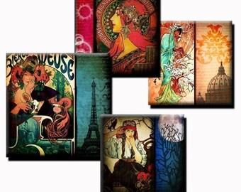 Alphonse Mucha Mixed Media - 1 inch and 2 inch squares - (3) Digital sheets