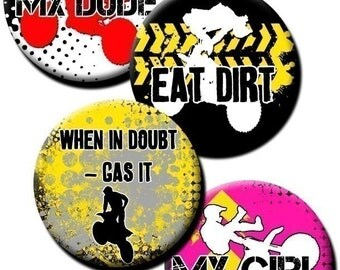 Motocross in Yellow Red and Pink collage sheet - 1 inch circles/bottle cap images