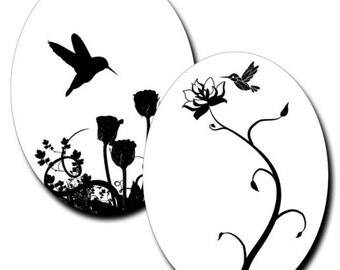 Nature in Black and White - 40mm x 30mm Ovals - (2) Digital sheets