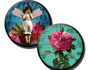 Victorian Kids on Tattered Teal - 1 inch circles - Digital collage sheet/ 25mm