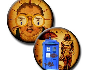 Flight of the Tardis - 1 inch and 20mm circles - (2) Digital collage sheets