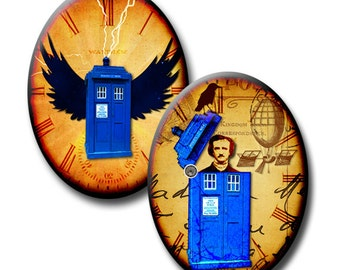 Flight of the Tardis - 40mm x 30mm Ovals - (2) Digital collage sheets