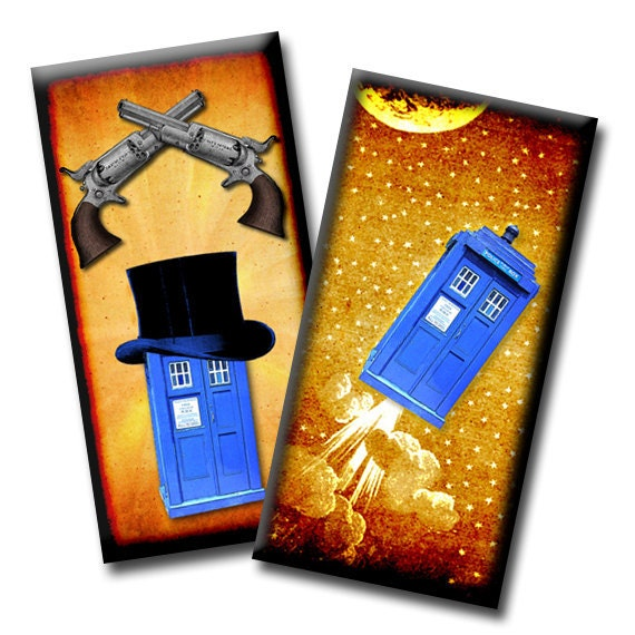Flight of the Tardis No1 - 1 x 2 inches - Digital collage sheet