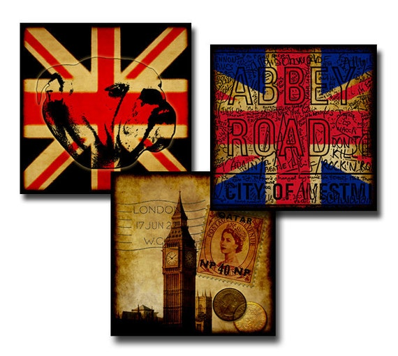 The British Are Coming - Digital collage sheet - 1 inch squares/25mm