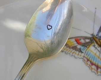 Hand Stamped Wedding Spoon Vintage Silver Plated Silverware. I Give You My Heart