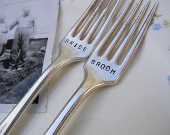 Bride and Groom Forks Vintage Wedding Cake Reception Set.