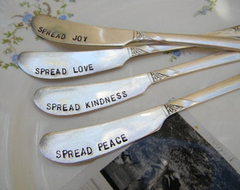 Vintage Spreading Knife Set. Spread Peace, Love, Kindness, and Joy. Hand Stamped.