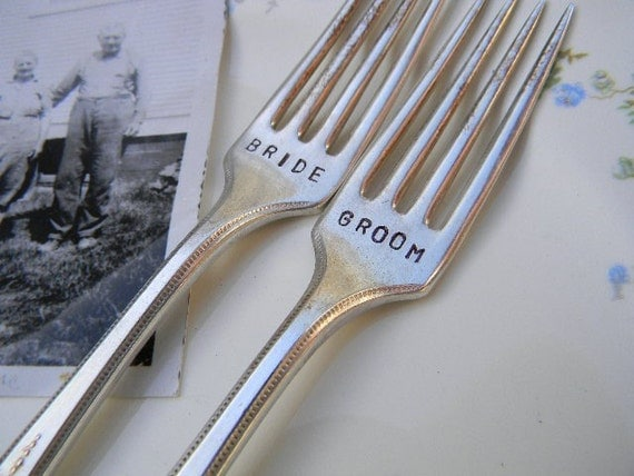 Bride and Groom Forks Vintage Wedding Cake Reception Set.