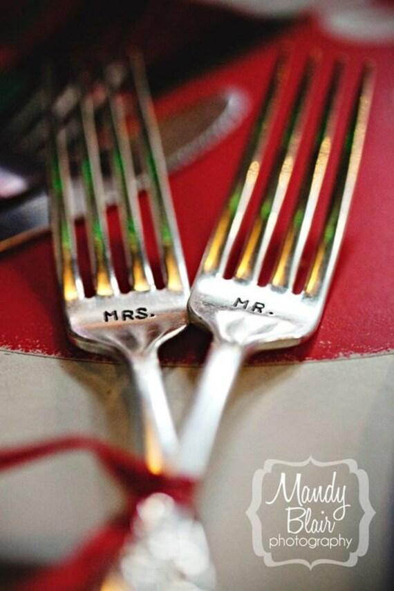 Mr and Mrs Vintage Wedding Forks. Hand Stamped Silver Plate Fork Set