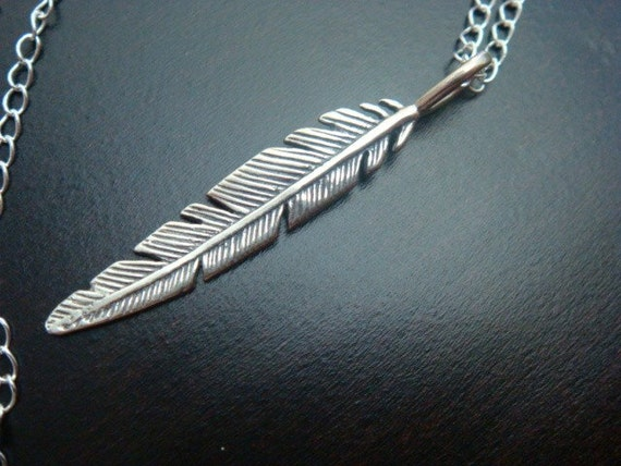 Light as a Feather....Sterling Silver Charm Necklace