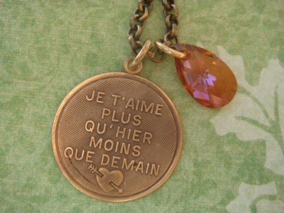Parisian Pretty...Love You More Than Yesterday... French Necklace
