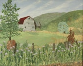 The Barn with a Red Roof Original Oil Painting