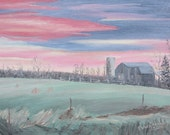 Sunset Painting, Barn Painting,  Framed Painting, Original 11 X 14 inch Oil Painting, Sunset After a Storm