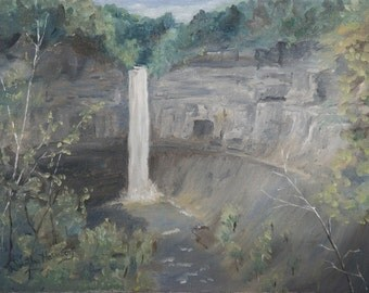 Water Fall Painting, Ithaca Scene, 9 X 12 inch painting, Original Oil Painting, Framed Painting, Realistice Style Painting, Nature Scene