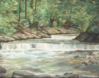 Water Fall Painting, 18 X 24 inch Framed Original Fine Art Oil Painting of Rushing water of  Penfield Creek