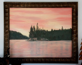 The sky changes quickly as the sun drops below the horizon at Lower Saranac Lake as shown in this 16 X 20 inch framed original painting.