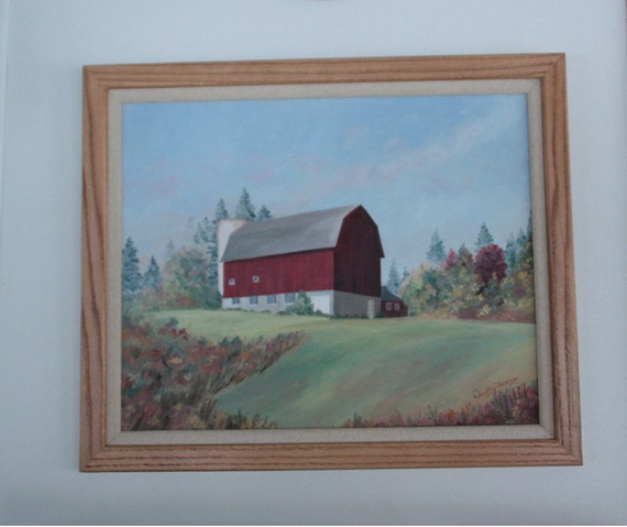 Original 16 X 20 inch Oil Painting  of a red barn on a hill in central New York state has smooth texture and a handmade oak fram.