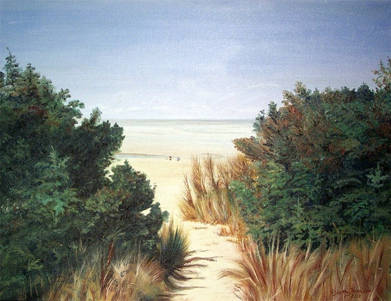 Walk to the Pacific Ocean shore in this 14 X 18 inch realistic prize winning original oil painting. The handmade oak frame is included.