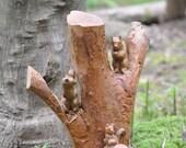 A Trio Of Squirrels Folk Art Carving/Vintage 1950s 1960s/Rustic Sculpture