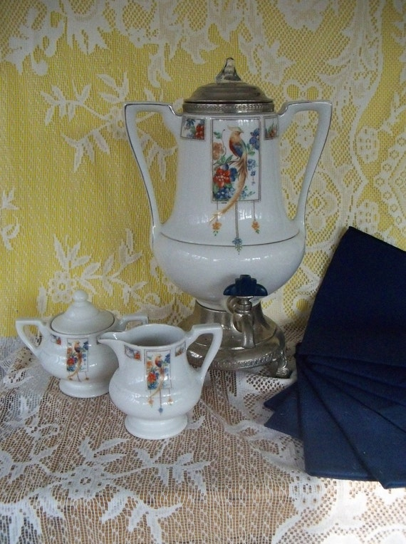 1920s Art Deco Royal Rochester Golden Pheasant Porcelain Electric Percolator/Urn with Creamer and Sugar Bowl