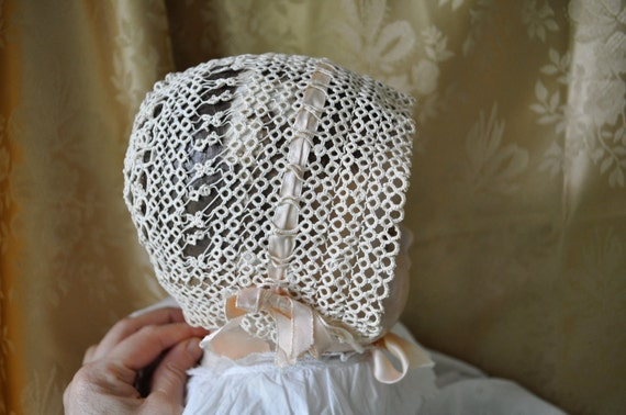 Antique Edwardian All Hand Made Tatted Baby Bonnet Infant