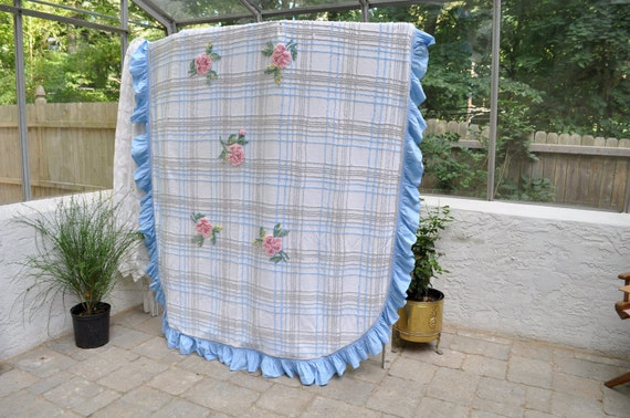 "RESERVED For Persians2 Vintage 1940s Cabin Crafts Needle Tufted Chenille Bedspread Blue and Grey With Pink Roses 101"" by 81"""