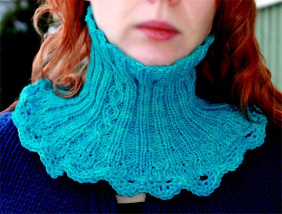 Collar and cowl knitting pattern cables and ruffles