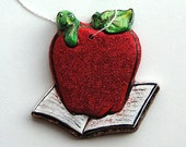 Christmas Ornaments School Teacher Red Apple Bookworm by Artist Barbara Williams