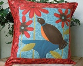 Contemporary Bird Pillow - Insert Included