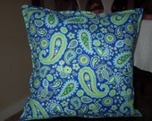 Lively Paisley Pillow in Blues & Greens - Insert Included