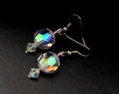 Drop Earrings Made from Vintage Faceted Glass Beads