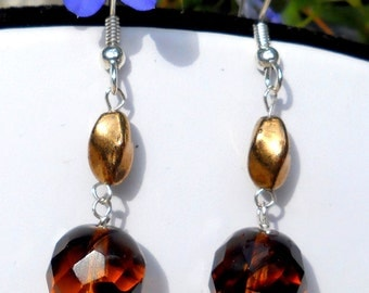 Earrings Sterling Silver  Amber Czech Glass  Faceted Jablonex Free Shipping