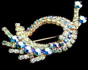 Vintage Rhinestone Brooch Fabulous Snail Turquoise Hues