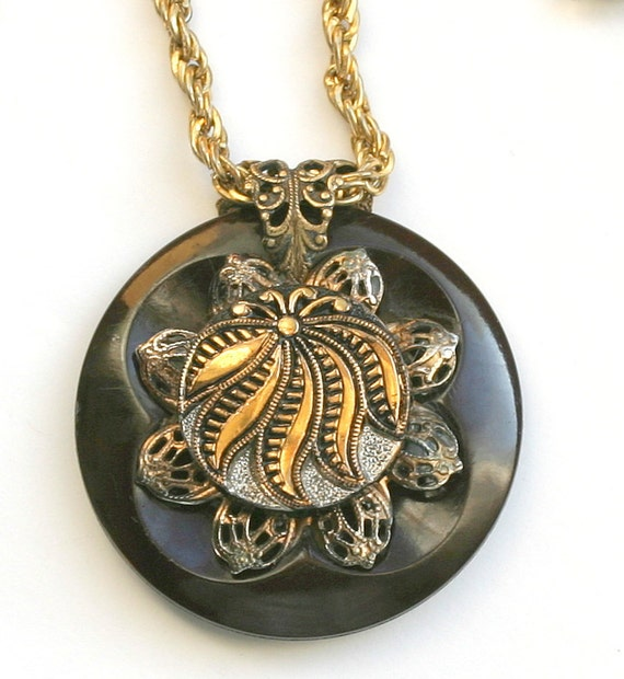 Button Jewelry - SALE Vintage Filigree and Vintage Bakelite and vintage Glass Button Gold Luster Pendant