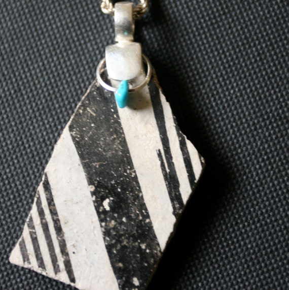 Ancient Native American Anasazi Shard Pendant Sterling Silver & Turquoise