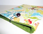 iPad Case Spring Hummingbird Floral Case w/ Wooden Button Closure by Christa Elle