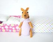 Woodland lilac felt fox plush in matchbox patterned with pastel dots and purple floral