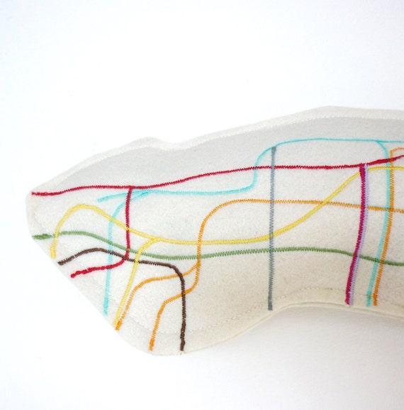 Pillow. Manhattan metro map