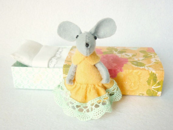 Peach and mint  felt mouse miniature plush in matchbox bed