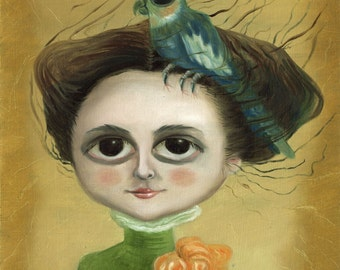 Parrot Girl Print on Paper / Ilona Cutts