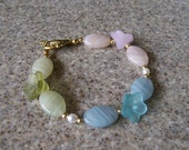 RESERVED FOR LISA English Garden Pastel Agates and Flowers Bracelet