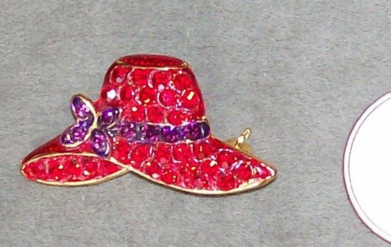 Red hat society rhinestone pin for Red hat bling jewelry