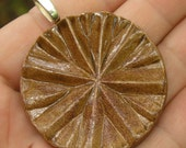 Brown Asterisk Pottery Pendant \/ Pressed Vintage Glass