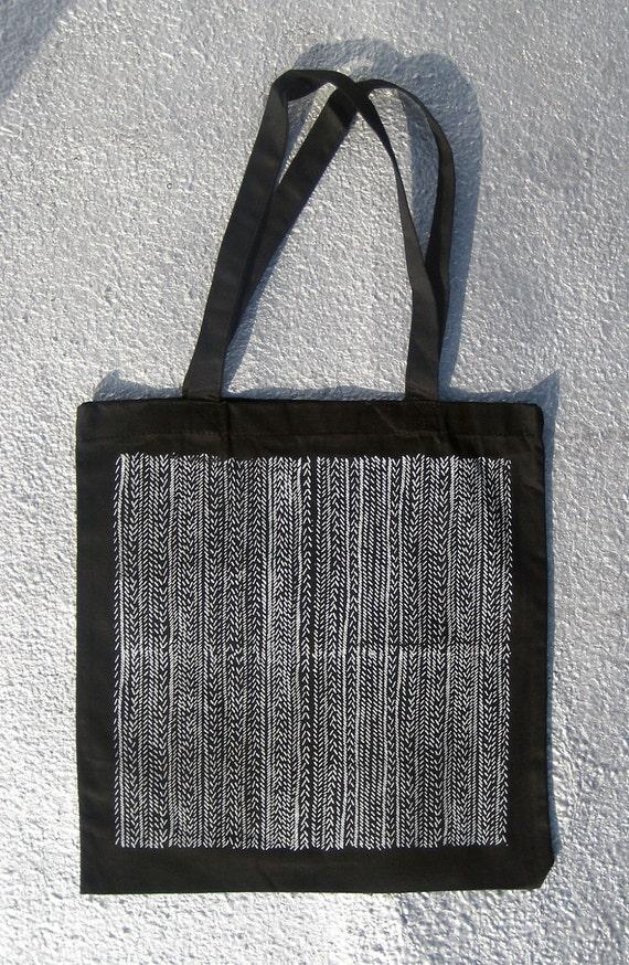 Slash Repeat Pattern Screen Printed Tote Bag