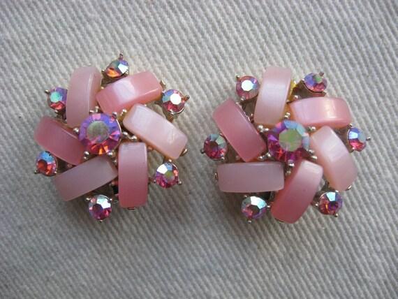 Pink Pinwheel Clip Earrings
