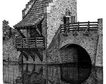 Pen and Ink Drawing Reproduction Blount's Bridge Print