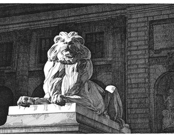 Pen and Ink Drawing NYC Public Library Lion Reproduction Print