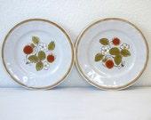 2 vintage handpainted strawberry dessert plates