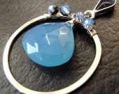 Silver Hand Forged Circle, Chalcedony, Wire Wrapped Pendant, Crystal