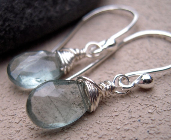 Moss Aquamarine, Argentium Silver, Wire Wrapped, Earrings